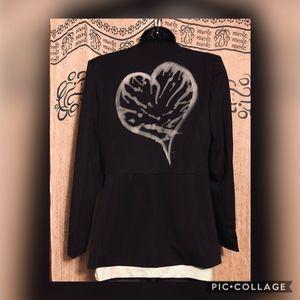 Jackets & Coats - Graffiti Heart Black Tuxedo Jacket XL